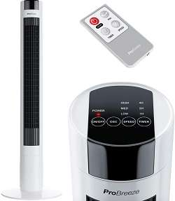 Pro Breeze Ventilador silencioso de Torre Oscilante 45W. con Temporizador y Mando a Distancia. Oscilación de 80°, 3 Modos de Funcionamiento y Altura 100 cm
