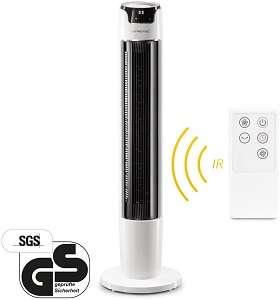TROTEC Ventilador de Torre silencioso TVE 40 T, 45 W, Pantalla LED, Mando a Distancia, 6 Velocidades de Ventilación,Viento Natural y Modo Nocturno, Temporizador, Moderno
