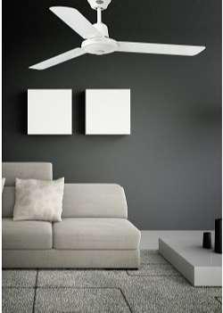 Faro Barcelona 33005 - ECO INDUS Ventilador de techo sin luz silencioso para dormir, acero, color blanco [Clase de eficiencia energética A++]