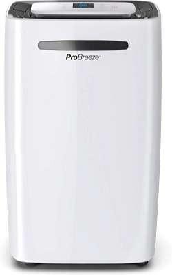 el mejor deshumidificador silencioso pro breeze bajo consumo con ionizador color blanco pequeño